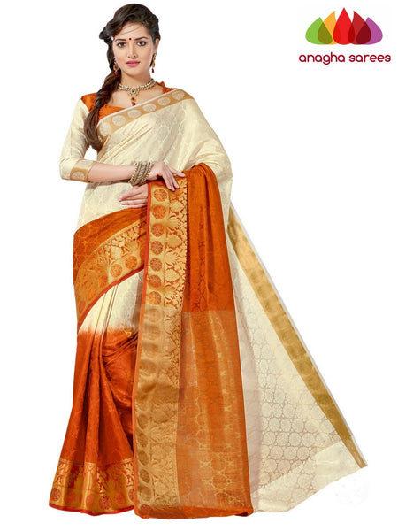 Trendy Fashion Silk Saree - Cream/Rust  ANA_646