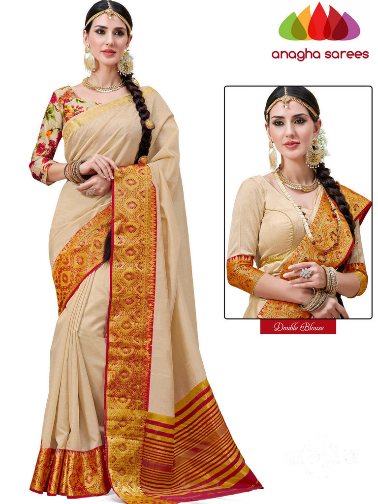 Anagha Sarees Semi-silk saree Trendy Fashion Silk Saree (Double Blouse) - Cream  ANA_237