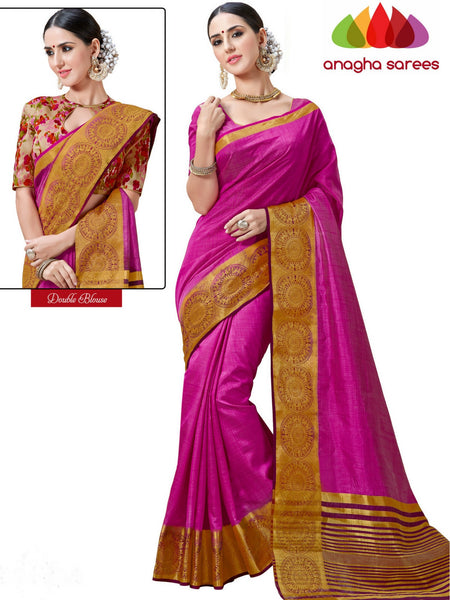 Trendy Fashion Silk Saree (Double Blouse) - Dark Pink  ANA_234