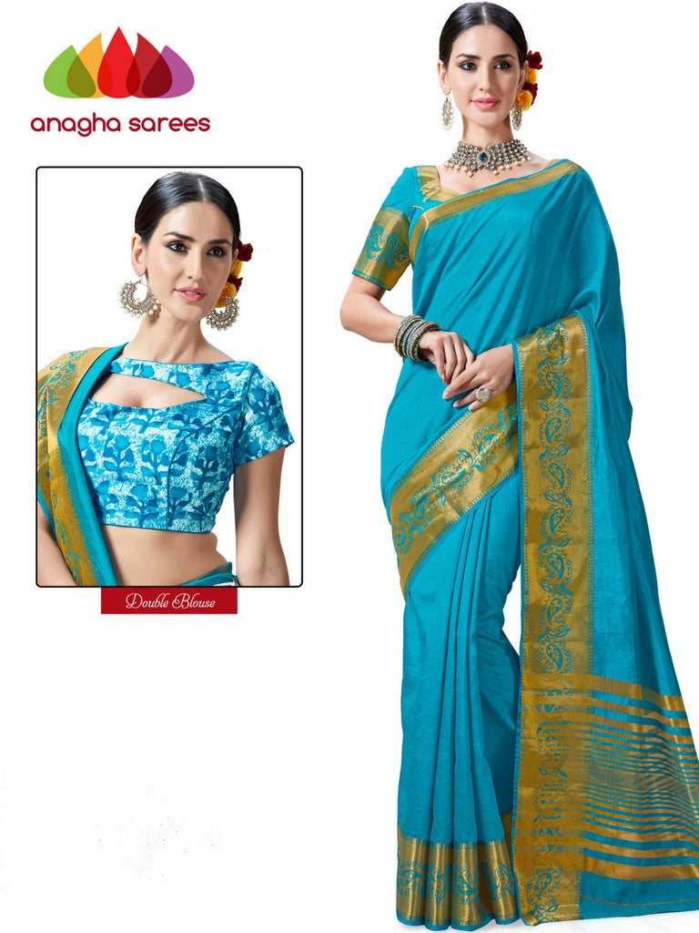 Trendy Fashion Silk Saree (Double Blouse) - Light Blue  ANA_236 Anagha Sarees