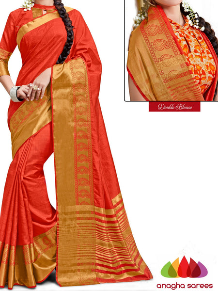 Anagha Sarees Semi-silk saree Trendy Fashion Silk Saree (Double Blouse) - Orange  ANA_239