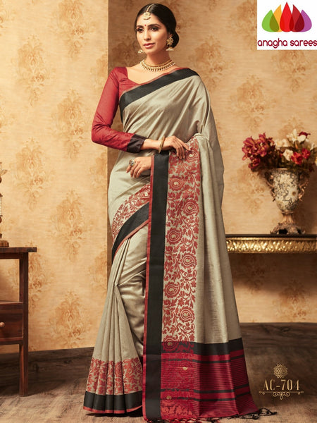 Trendy Fashion Silk Saree - Grey : ANA_A36