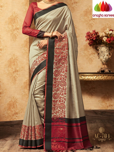 Trendy Fashion Silk Saree - Grey : ANA_A36 - Anagha Sarees