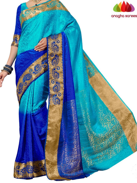 Anagha Sarees Semi-silk saree Trendy Fashion Silk Saree - Light Blue/Dark Blue ANA_647