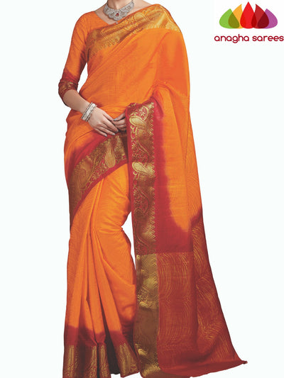 Trendy Fashion Silk Saree - Mango Yellow/Red ANA_404 - Anagha Sarees