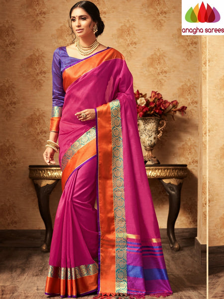 Trendy Fashion Silk Saree  -  Magenta : ANA_A37