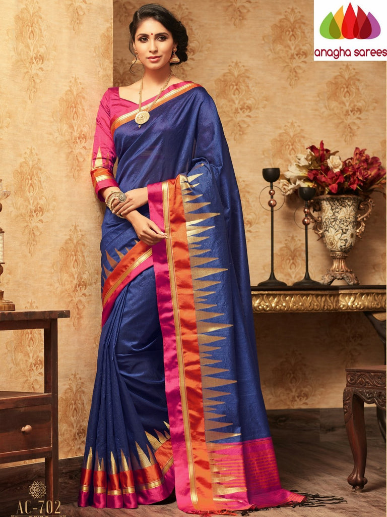 Trendy Fashion Silk Saree - Navy Blue  ANA_A34 Anagha Sarees