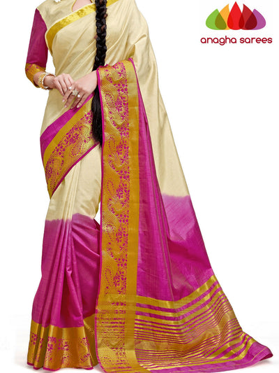 Trendy Fashion Silk Saree - Off White/Pink ANA_232 - Anagha Sarees
