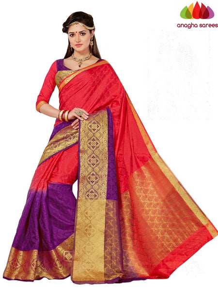 Anagha Sarees Semi-silk saree Trendy Fashion Silk Saree - Orange/Purple  ANA_651