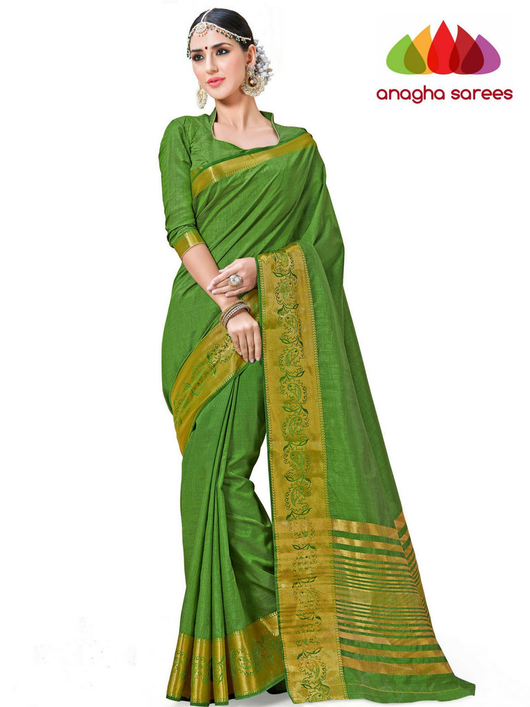 Anagha Sarees Semi-silk saree Trendy Fashion Silk Saree - Parrot Green  ANA_243