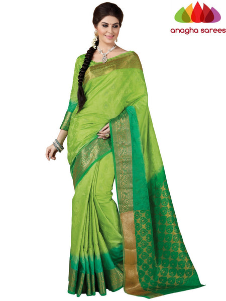 Anagha Sarees Semi-silk saree Trendy Fashion Silk Saree - Parrot Green ANA_403