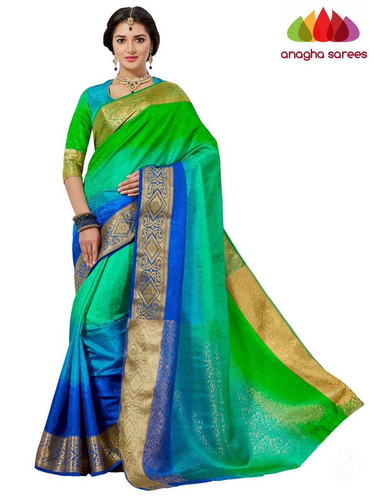 Trendy Fashion Silk Saree - Parrot green/blue ANA_652 Anagha Sarees