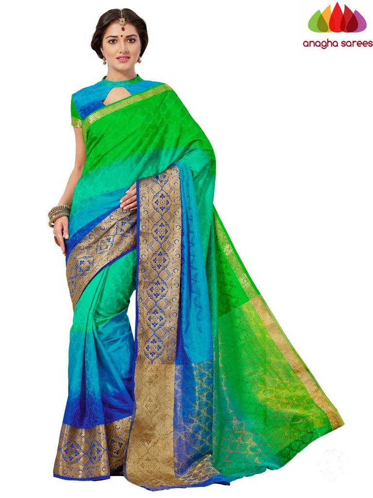 Trendy Fashion Silk Saree - Parrot green/Blue  ANA_653 Anagha Sarees
