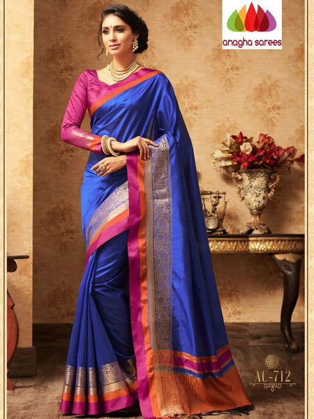 Anagha Sarees Semi-silk saree Trendy Fashion Silk Saree -  Purple :ANA_A42