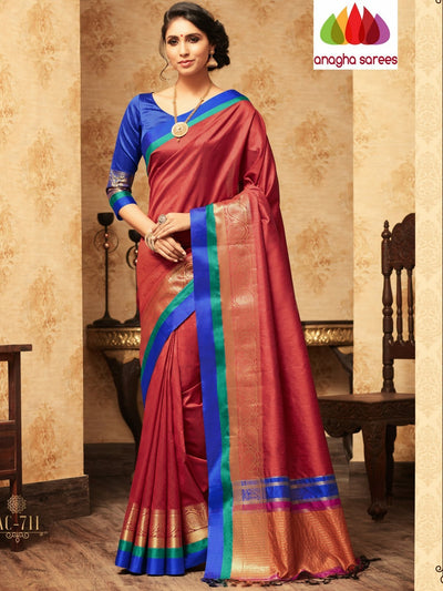 Trendy Fashion Silk Saree - Rust : ANA_A39 - Anagha Sarees
