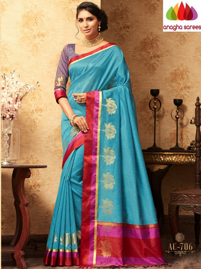 Trendy Fashion Silk Saree - Sky-Blue : ANA_A40 - Anagha Sarees