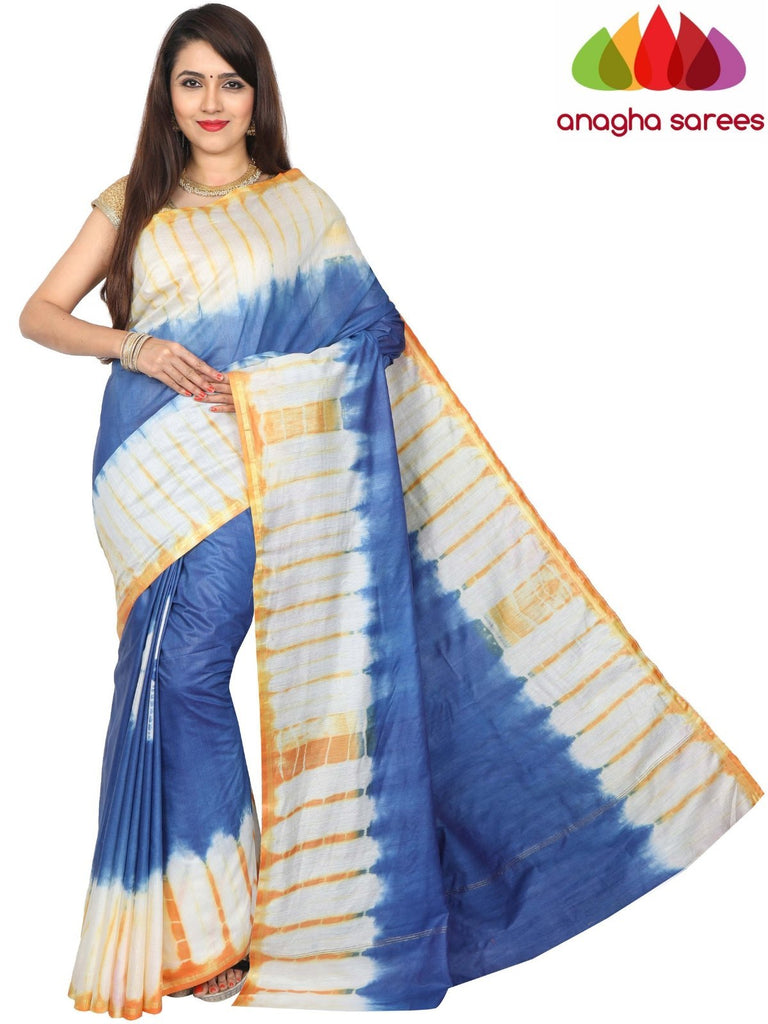 Shibori Trendy Silk Saree - Blue/Orange : ANA_G17 Anagha Sarees