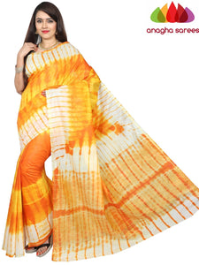 Shibori Trendy Silk Saree - Orange/Yellow : ANA_G14
