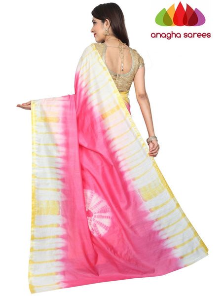 Shibori Trendy Silk Saree - Pink/Yellow : ANA_G12