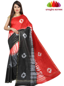 Shibori Trendy Silk Saree - Red/Black : ANA_G15