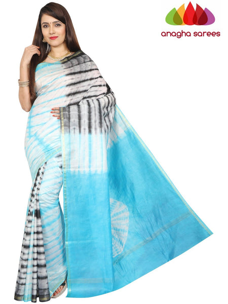 Anagha Sarees Semi silk Shibori Trendy Silk Saree - Sky Blue/Black : ANA_G19