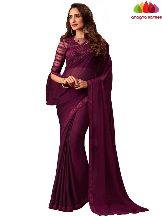 Anagha Sarees Shiffon Crepe Silk Length=6.2 metres  Width=46 inches / Burgundy Designer Georgette Silk Saree - Burgundy : ANA_L51