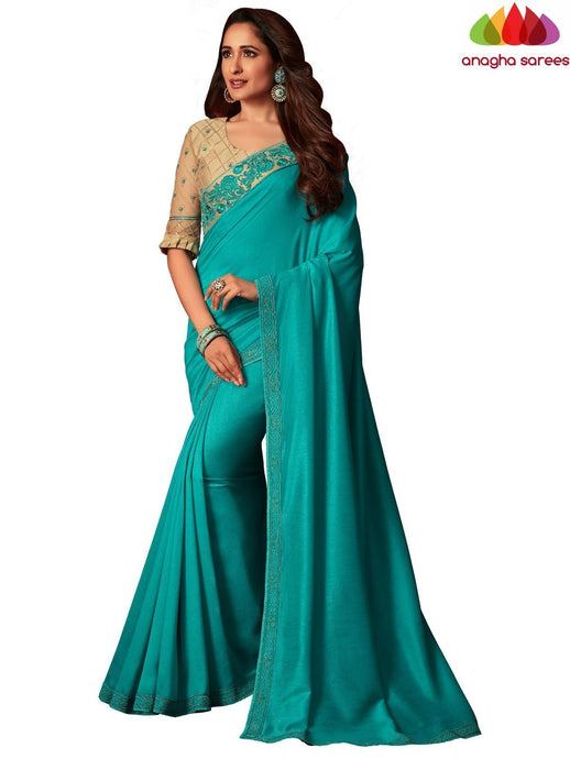 Anagha Sarees Shiffon Crepe Silk Length=6.2 metres  Width=46 inches / Turquoise Blue Designer Shiffon Crepe Silk Saree - Turquoise Blue : ANA_L61