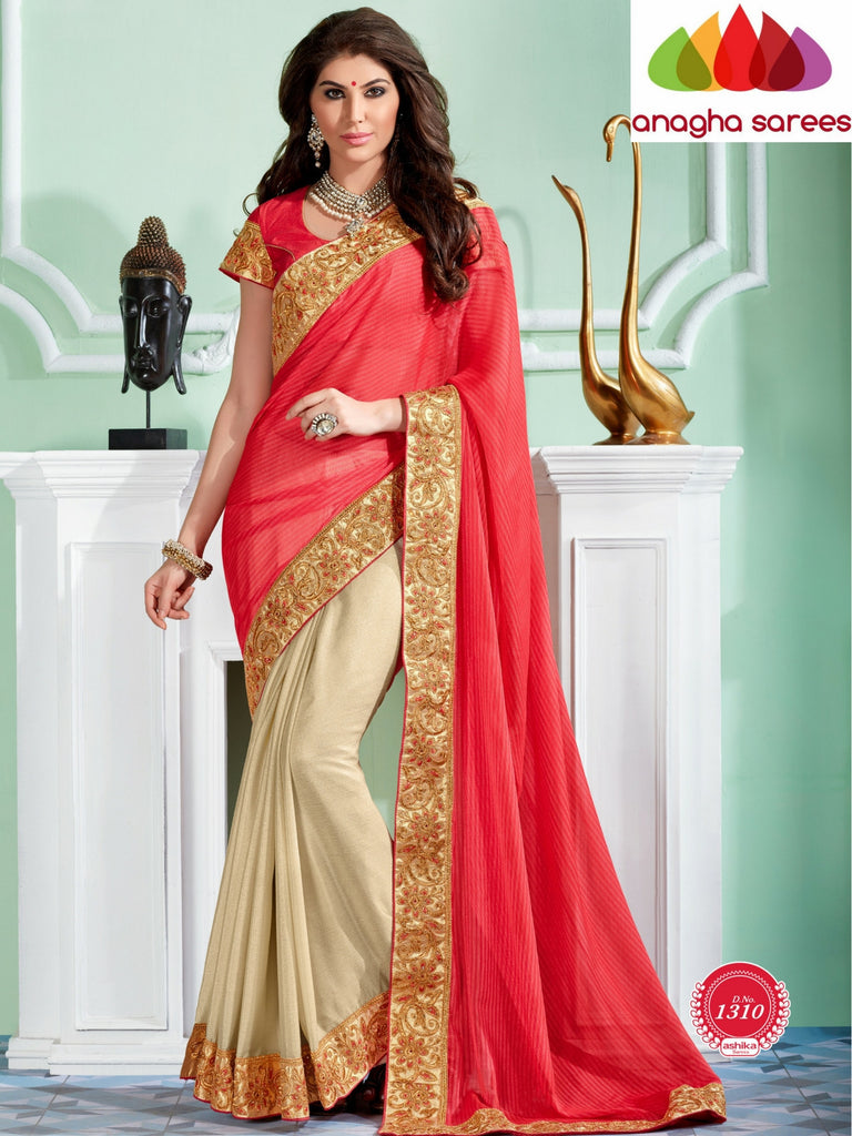 Rich Designer Shiffon Saree - Dark Peach/Cream  ANA_296 Anagha Sarees