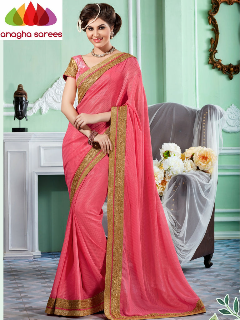 Rich Designer Shiffon Saree -  Light Pink  ANA_293 Anagha Sarees
