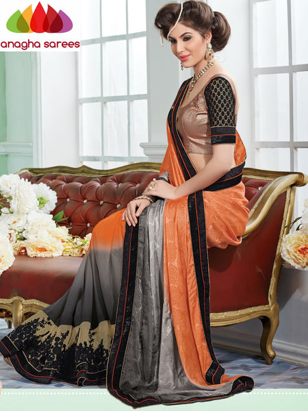 Anagha Sarees Shiffon Saree Rich Designer Shiffon Saree - Orange/Black  ANA_299