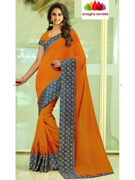 Designer Soft Shiffon Silk Saree - Orange ANA_B30