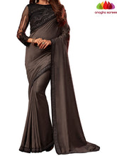 Anagha Sarees Shiffon Silk Length=6.2 metres  Width=46 inches / Ash Grey Designer Shiffon Silk Saree - Ash Grey : ANA_L55
