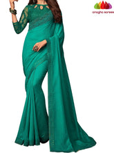 Anagha Sarees Shiffon Silk Length=6.2 metres  Width=46 inches / Bluish Green Designer Shiffon Silk Saree - Bluish Green : ANA_L50