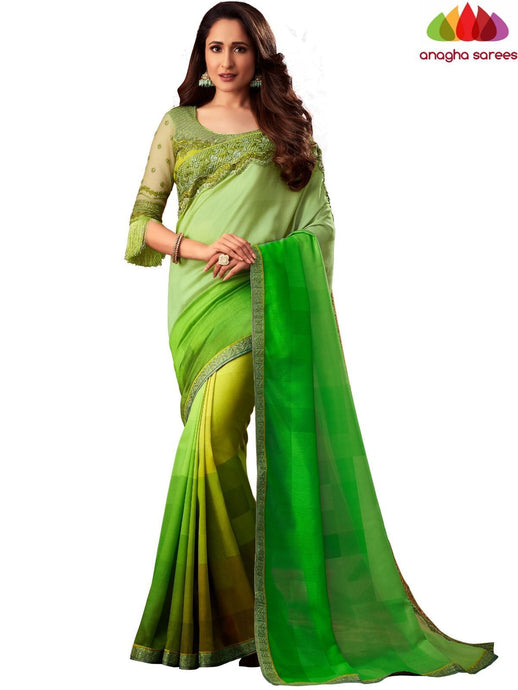Anagha Sarees Shiffon Silk Length=6.2 metres  Width=46 inches / Light Green/Yellow Designer Shiffon Silk Saree - Light Green/Yellow : ANA_L45