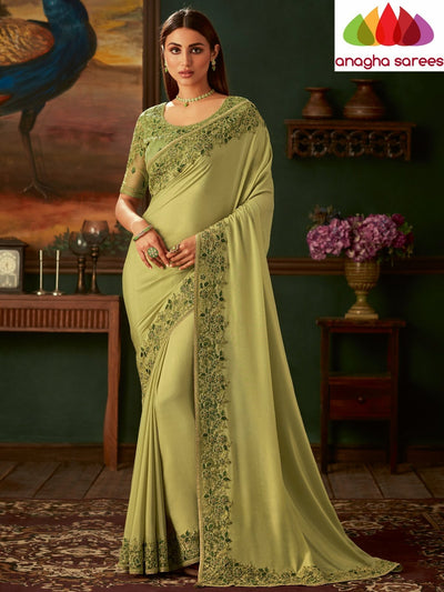 Designer Shimmer Georgette Saree - Light Olive Green : ANA_N65 - Anagha Sarees