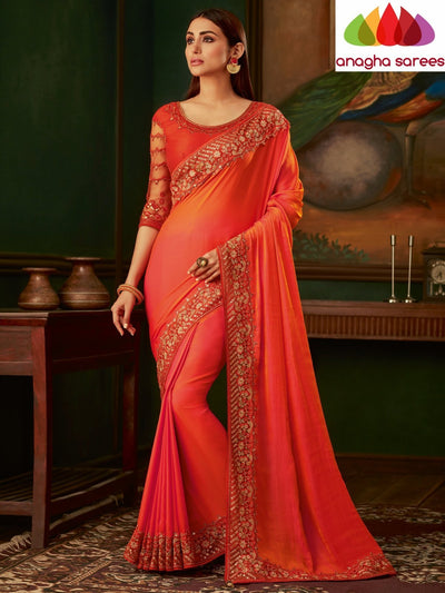 Designer Soft Silk Saree - Orange : ANA_N63 - Anagha Sarees