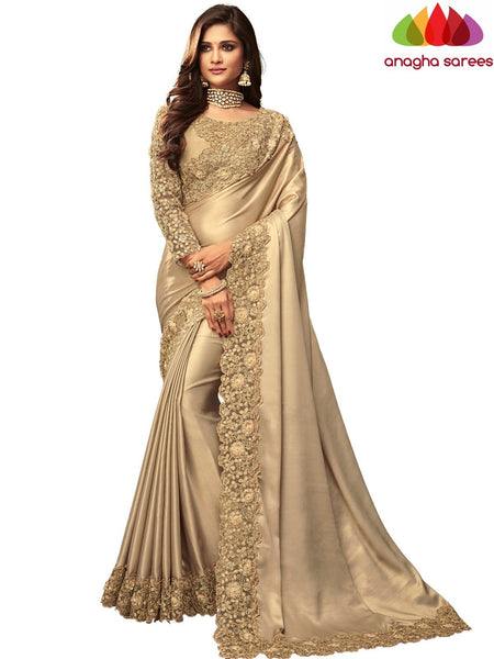 Anagha Sarees Shimmer silk Length=6.2 metres  Width=46 inches / Beige Designer Shimmer Silk Saree - Beige : ANA_I41