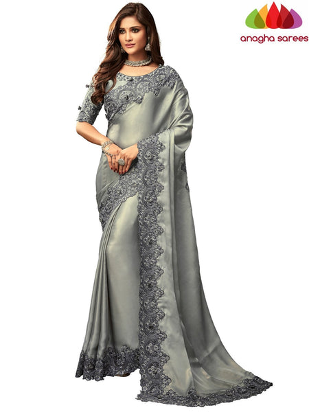 Anagha Sarees Shimmer silk Length=6.2 metres  Width=46 inches / Grey Designer Shimmer Silk Saree - Grey : ANA_I42