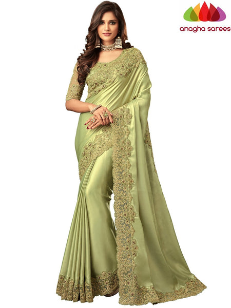 Anagha Sarees Shimmer silk Length=6.2 metres  Width=46 inches / Grey Designer Shimmer Silk Saree - Olive Green : ANA_I43