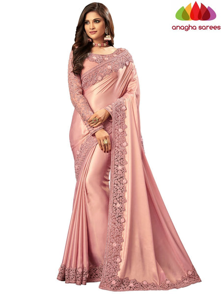 Anagha Sarees Shimmer silk Length=6.2 metres  Width=46 inches / Pink Designer Shimmer Silk Saree - Pink : ANA_I44