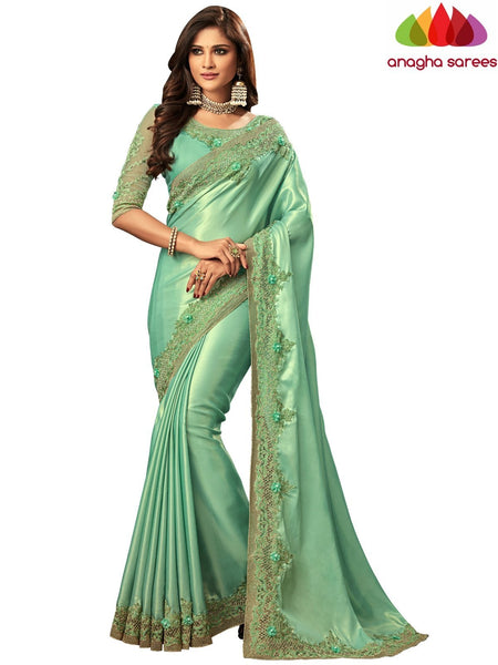 Anagha Sarees Shimmer silk Length=6.2 metres  Width=46 inches / Pista Green Designer Shimmer Silk Saree - Pista Green : ANA_I38
