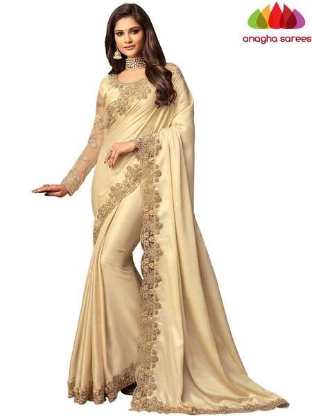 Anagha Sarees Shimmer silk Length=6.2 metres  Width=46 inches / Sea Green Designer Shimmer Silk Saree - Light Beige : ANA_I39