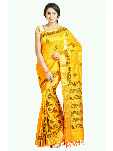 Anagha Sarees Silk-cotton saree Hand Printed Kanjivaram Partli Pallu  Silk-Cotton Saree - Yellow/Geometrical Design : ANA_36