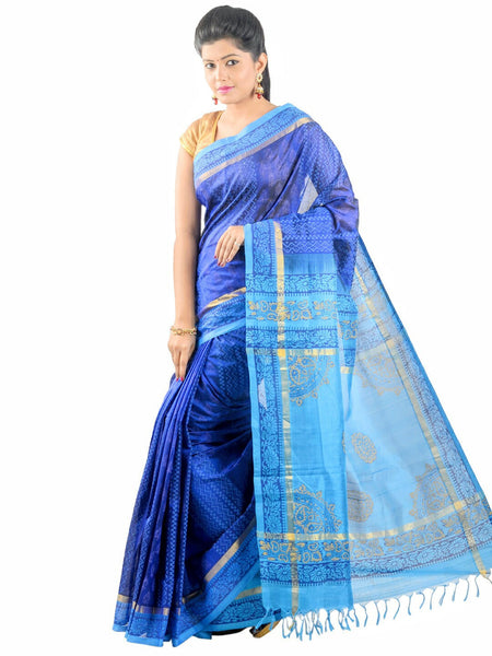 Anagha Sarees Silk-cotton saree Hand Printed Kanjivaram Silk-Cotton Saree - Blue : ANA_22