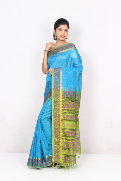 Anagha Sarees Silk-cotton saree Hand Printed Kanjivaram Silk-Cotton Saree - Light Blue : ANA_21