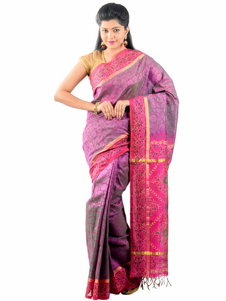 Anagha Sarees Silk-cotton saree Hand Printed Kanjivaram Silk-Cotton Saree - Light Magenta : ANA_26
