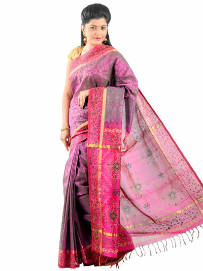Hand Printed Kanjivaram Silk-Cotton Saree - Light Magenta : ANA_026 - Anagha Sarees
