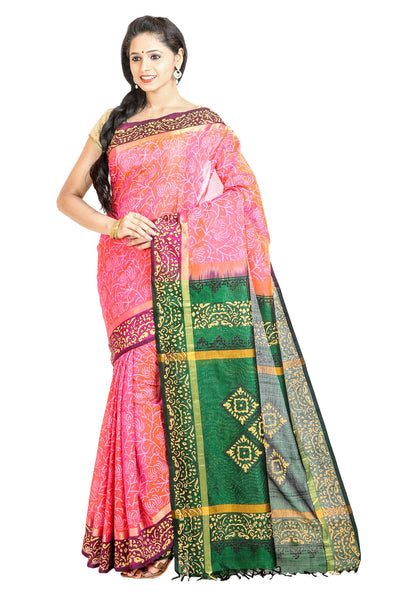 Anagha Sarees Silk-cotton saree Hand Printed Kanjivaram Silk-Cotton Saree - Lotus Pink : ANA_42