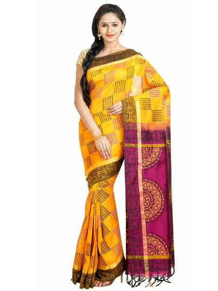 Anagha Sarees Silk-cotton saree Hand Printed Kanjivaram Silk-Cotton Saree - Mango Yellow : ANA_39