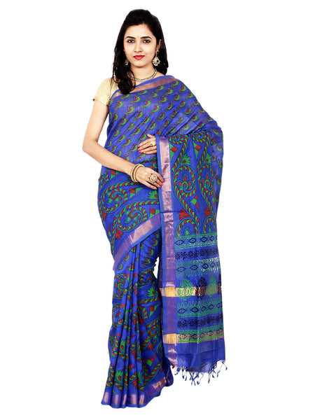 Anagha Sarees Silk-cotton saree Hand Printed Mangalagiri Silk-Cotton Saree - Dark Blue : ANA_19